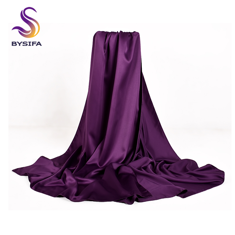 [BYSIFA] Luxury Women Satin Silk Scarf Fashion Brand Top Grade Purple Long Scarves Wraps Autumn Winter Female Muslim Head Scarf