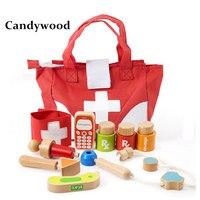 Candywood תפקיד ילדים play אחיות רופא צעצוע סט ערכת תיק כלי רפואי חינוכי עץ צעצוע רופא toys לילדים ילד וילדה