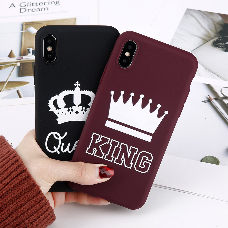 For Iphone 6 6S 7 8 Plus X Phone Case Cartoon Letter KING QUEEN Crown Soft TPU Silicon Phone Iphone 7 Back Cover