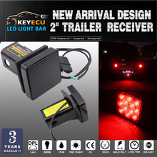 Cover Light-Tube-Cover Trailer-Hitch-Receiver Added-Safety KEYECU with 12-Led-Brake Leds