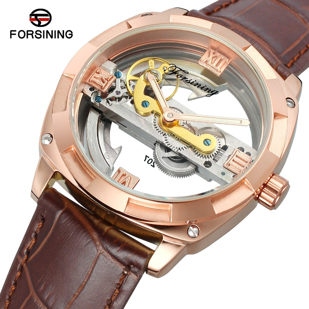 Forsining Rose Gold Roman Numerals Automatic Mechanical Watch Men Skeleton Wristwatch Male Retro Leather Brown Watch Relogio forsining automatic tourbillon men watch roman numerals with diamonds mechanical watches relogio automatico masculino mens clock