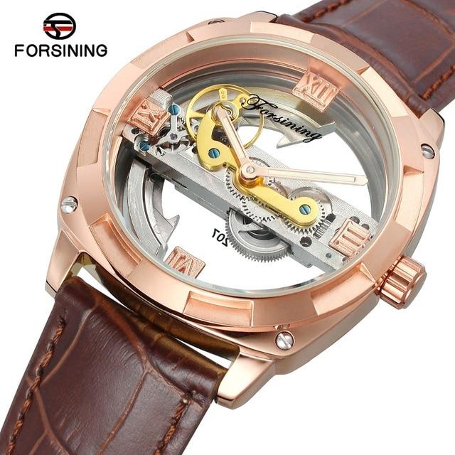 3ab64543dca Forsining Rose Ouro Algarismos Romanos Automáticas Homens Mecânicos do Relógio  Esqueleto De Couro Marrom Relógio de