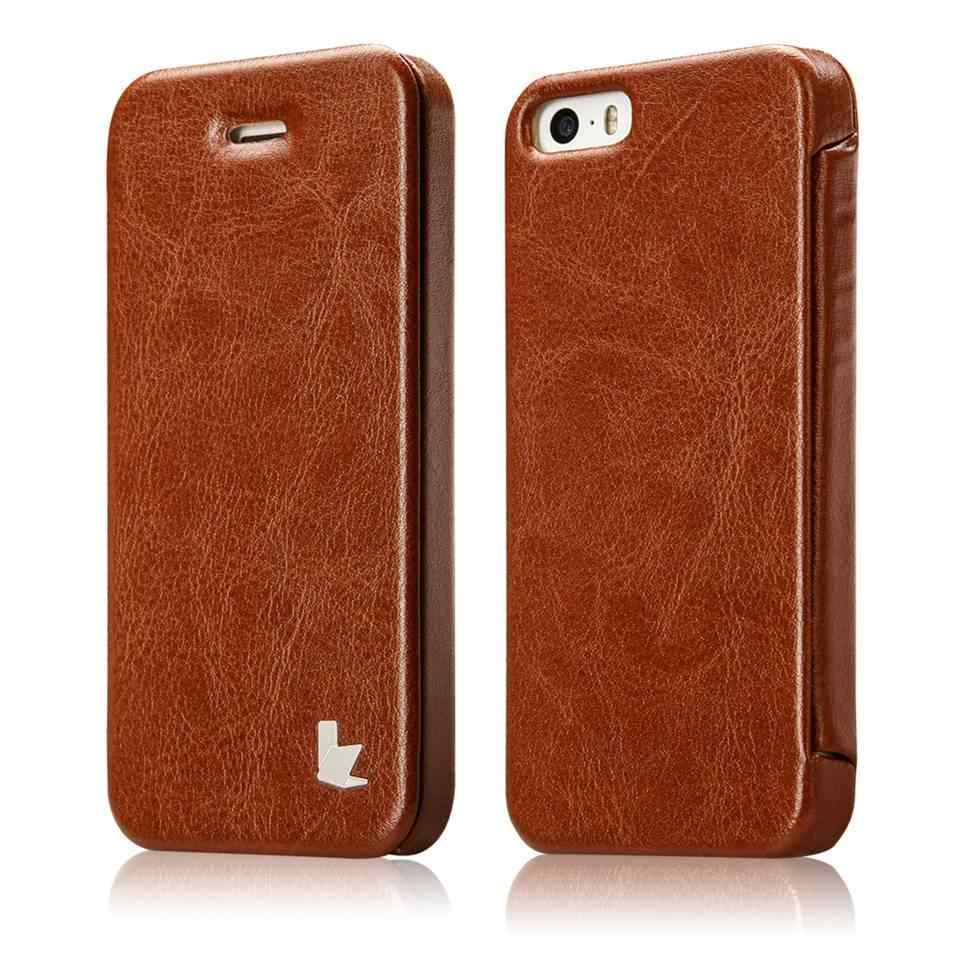 new style cc343 be722 Jisoncase Luxury Leather Cases for iPhone SE 5S Fashion Brand Phone Case  for iPhone 5 Flip Cover Protective Shell Cases & Bags