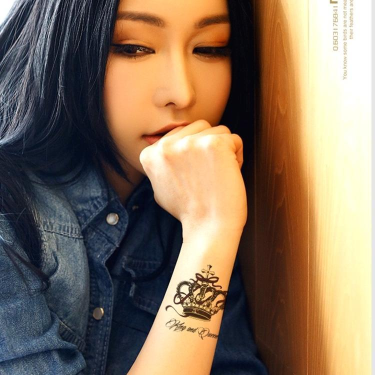 Black King Luxury Crown Tattoos Women Arm Sticker Waterproof