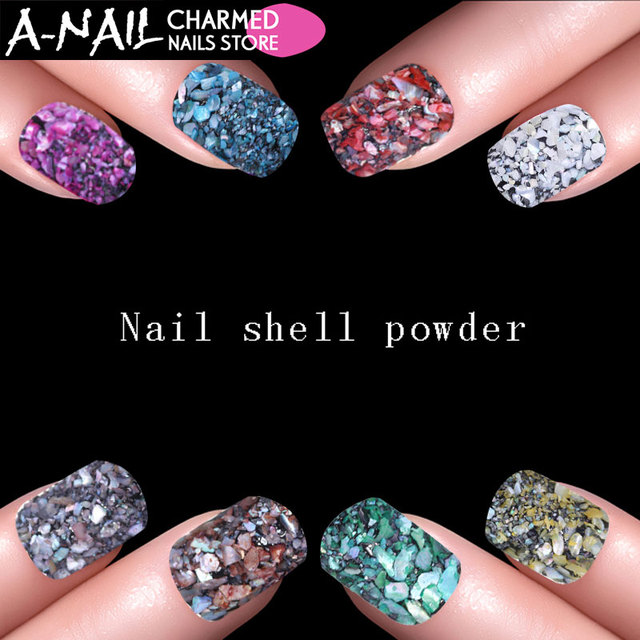 12boxes Set 12 Colors Acrylic Nail Seashell Powder Particle Crushed
