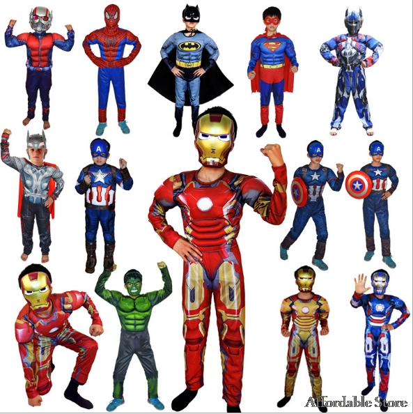 Kids Super Heroes Cosplay Costume Children's Clothing Sets Muscle Spider man Superman Ironman Captain America Batman