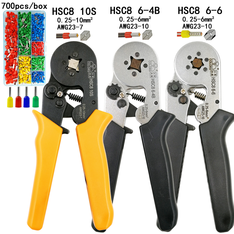 Mini pliers electrical wire crimping tools tubular terminals box set HSC8 10S 0.25-10mm2 AWG23-7 6-4B/6-6 0.25-6mm2 AWG23-10Mini pliers electrical wire crimping tools tubular terminals box set HSC8 10S 0.25-10mm2 AWG23-7 6-4B/6-6 0.25-6mm2 AWG23-10