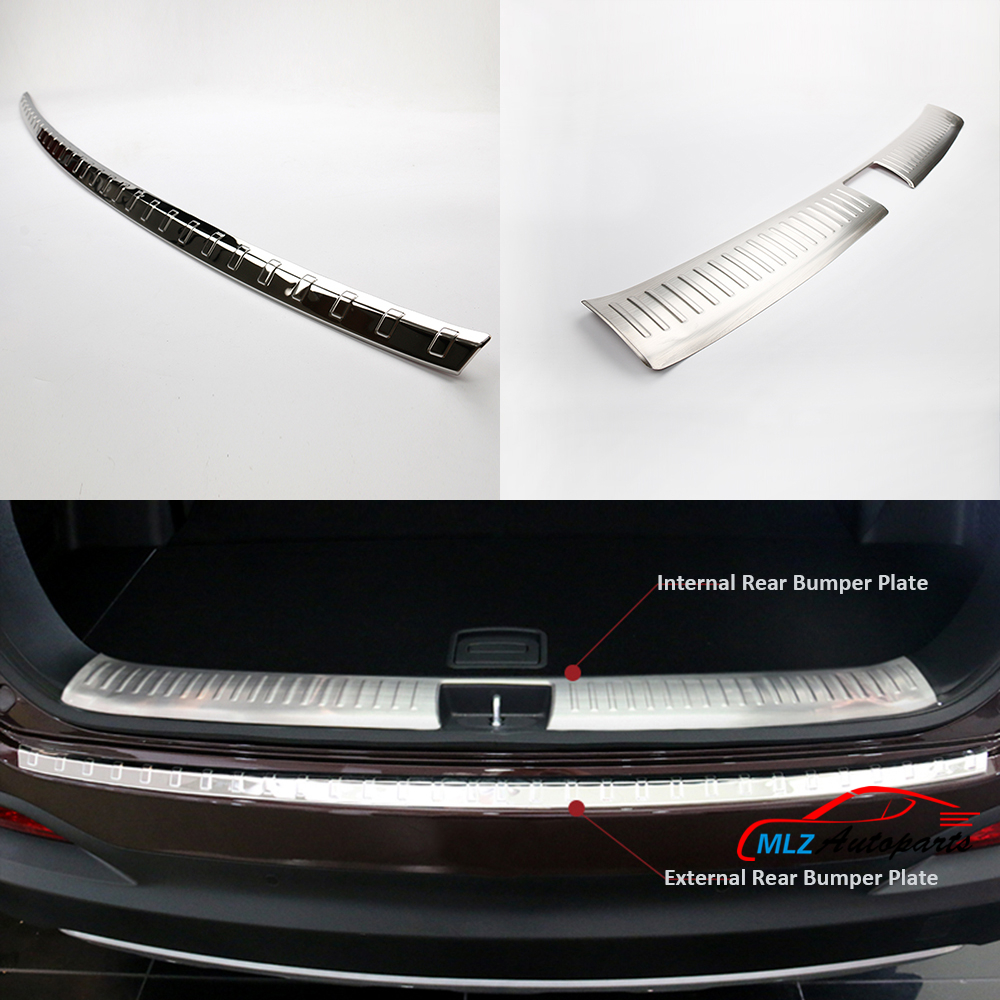 Stainless Steel Internal External Rear Bumper Protector Cover Exterior Tail Footplate Sill Guard Trim For Kia Sorento 2016 2017Stainless Steel Internal External Rear Bumper Protector Cover Exterior Tail Footplate Sill Guard Trim For Kia Sorento 2016 2017