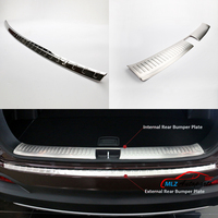 Stainless Steel Internal External Rear Bumper Protector Cover Exterior Tail Footplate Sill Guard Trim For Kia Sorento 2016 2017