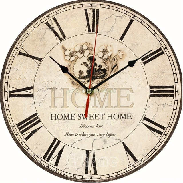 US $8.39 |Große Vintage Blume Holz Wanduhr Küche Antique Shabby Chic Retro  Home # T025 # in Große Vintage Blume Holz Wanduhr Küche Antique Shabby ...