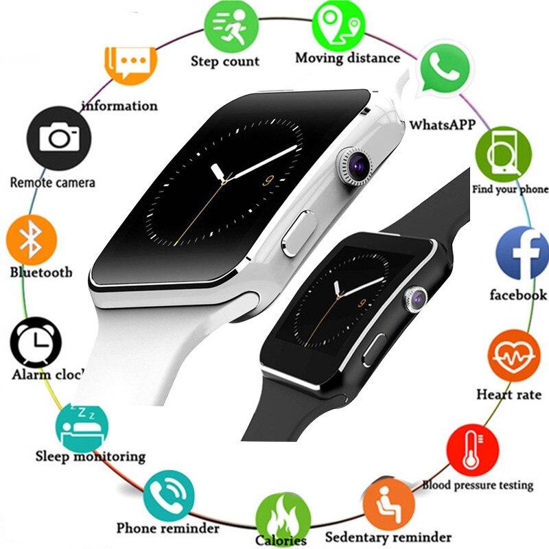Смарт-часы X6 с камерой, сенсорным экраном, поддержкой SIM-карты, TF-карты, Bluetooth, Смарт-часы для телефонов iPhone, Xiaomi, Android