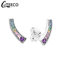 CUTEECO Rainbow Heart Shape Colorful Zircon Stud Earrings For Women Arcs of Love CZ Brand Earring Jewelry 2019 Brinco Bijoux