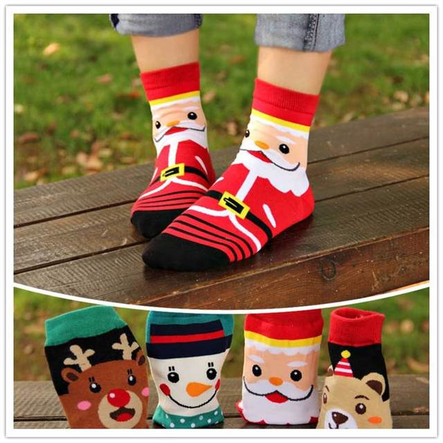 new christmas cartoon emoji santa elk happy socks 4 designs moose funny winter ankle cotton female