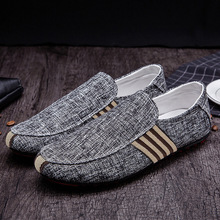 2019 new arrival men casual shoes hot spring canvas solid men slip-on shoes linen man shoes Moccasin-gommino men shoes