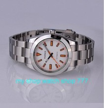 sapphire Luxury watches PARNIS 40mm pearl white dial with automatic mechanical movement steel men's watch 0288