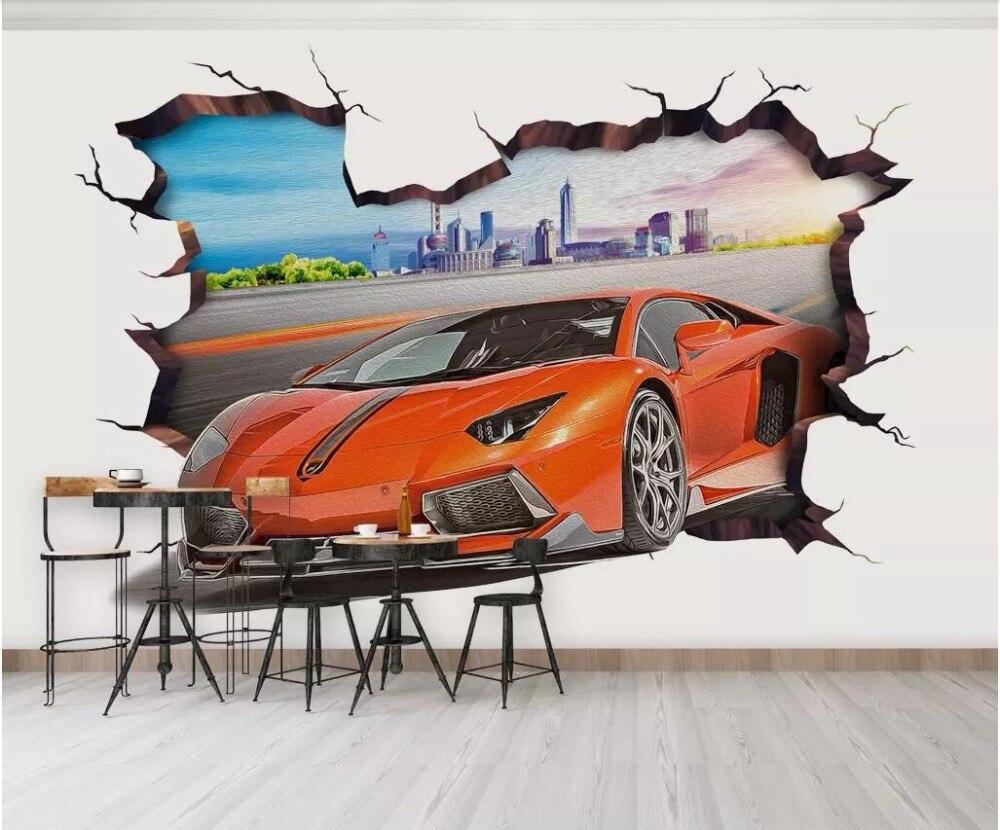US $15 03 OFF 3d Photo Wallpaper Custom Mural Wall Painting Sports Car Through The Wall Living Room 3d Wall Murals Wallpaper For Walls 3