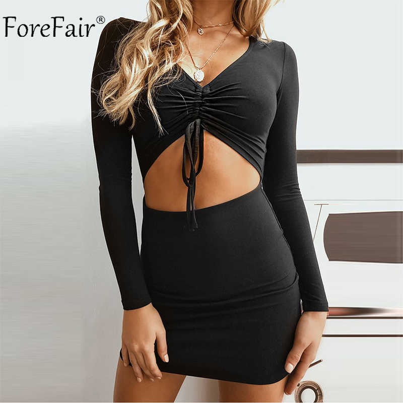 e46bf63bc42 Detail Feedback Questions about Forefair Mini Long Sleeve Sexy Bodycon  Dress Women Autumn Red White Cut Out Lace Up V Neck Ruched Party Winter  Dress 2018 on ...