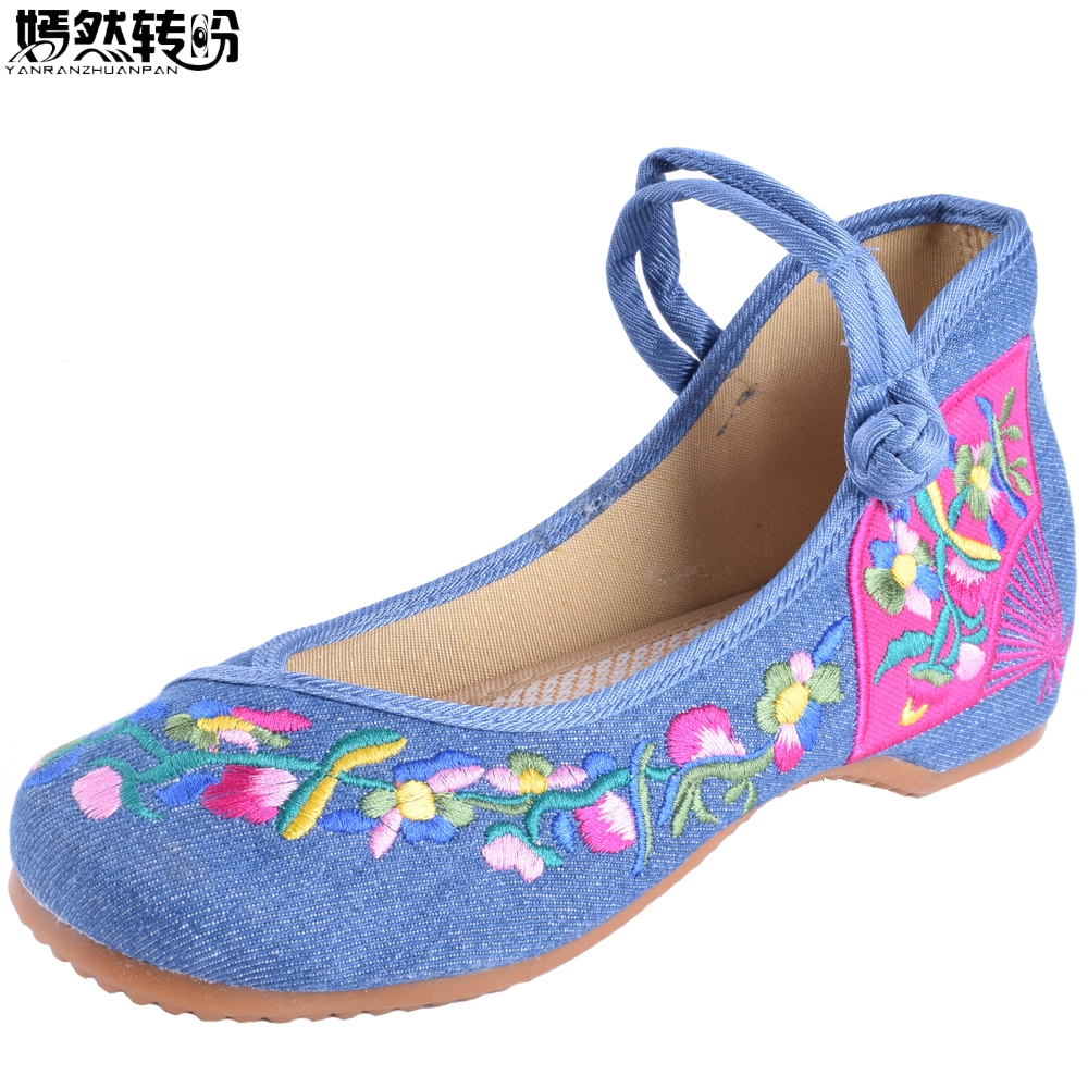 Chinese Women Flats Old Beijing Mary Jane Casual Flower Embroidered Cloth Canvas Dance Ballet Shoes Woman Zapatos De Mujer peacock embroidery women shoes old peking mary jane flat heel denim flats soft sole women dance casual shoes height increase