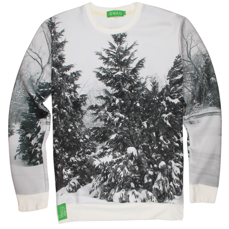 Unisex Snowfield Christmas Tree 3D Printing Long-Sleeve Roud-Neck Hoodies Women Men Casual Lover Couple Top