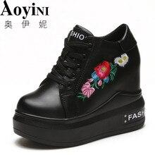 Г., новая обувь на танкетке 10 см женские повседневные туфли на скрытом каблуке с вышивкой, цвет черный, белый, красный