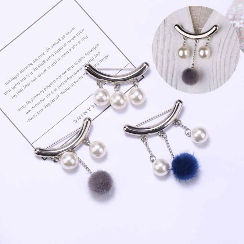 Semplice Ball Fisso Slip antiscivolo Nappa Spille Spille Fibbia Spilla di Perle per Le Donne Vestiti del Risvolto Spilli Cardigan Pinze accessori
