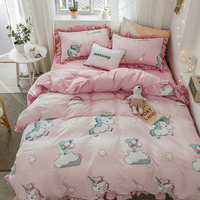 Pink Cartoon Unicorn Printing 100% Washed Cotton Girl Child Bedding Set Ruffle Duvet Cover Bed sheet Bed Linen Pillowcases 4pcs