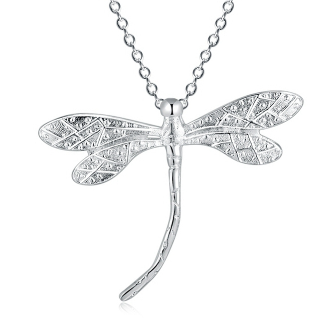 cd2cf636a New Luxury Silver Dragonfly White Gold Designs Pendant Necklace 45 CM Long  Chain Link Metal Delicate Female Jewelry Daily Wear