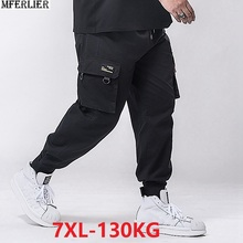 Мужские брюки карго размера плюс, Осенние эластичные брюки карго размера плюс, 5XL, 6XL, 7XL