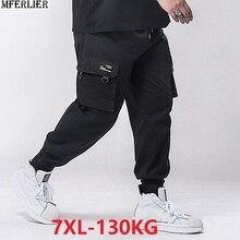Sonbahar erkek kargo pantolon cep kalem pantolon artı boyutu büyük 5XL 6XL 7XL erkek rahat pantolon yüksek sokak giyim esneklik streç 48 50