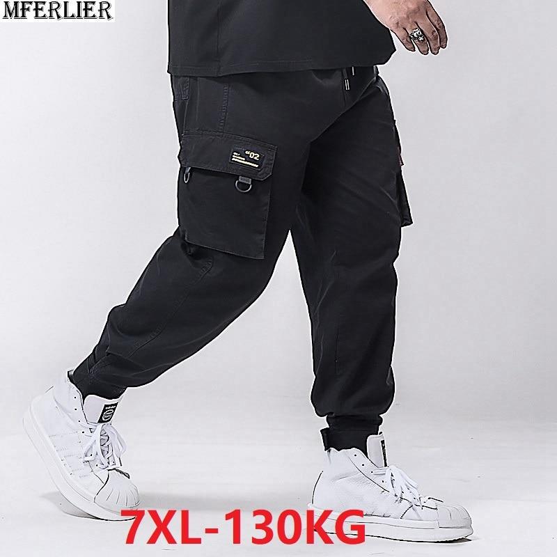 Spring Men Cargo Pants Pocket Pencil Pants Plus Size Big 5XL 6XL 7XL Man Casual Pants High Street Wear Elasticity Stretch 48 50