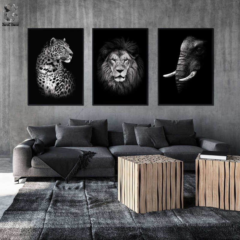 Modern Wild Animal Canvas Painting Lion Elephant Leopard Tiger Wall Art Picture for Living Room Art Poster Decoration Print Wall