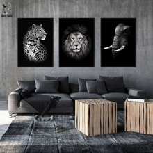 Modern Wild Animal Canvas Painting Lion Elephant Leopard Tiger Wall Art Picture for Living Room Poster Decoration Print