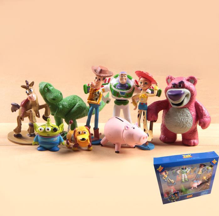 Huong anime figura 9 unids set Toy Story 3 Buzz Lightyear Woody Jessie PVC  figura de acción coleccionables modelo de juguete niños regalos 9d91f77f034