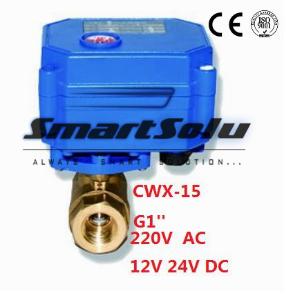 Free Shipping CWX-15 G1'' Two-way Motorized Ball Electric Valve Water 12V DC cwx 25s brass motorized ball valve 1 2 way dn25 minitype water control valve dc3 6v electrical ball valve wires cr 02