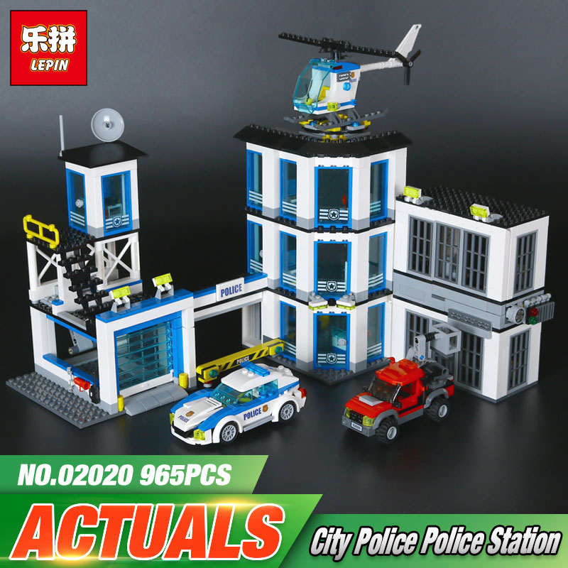 Lepin 02020 NEW City Series The New Police Station Set children Educational Building Blocks Bricks Funny Toys Model Gift 60141 965pcs city police station model building blocks 02020 assemble bricks children toys movie construction set compatible with lego