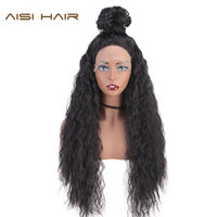 AISI HAIR 28 Inches Synthetic Lace Front Wig For Women Long Water Wavy Hair Natural Black Color High Temperature Resistant Fiber