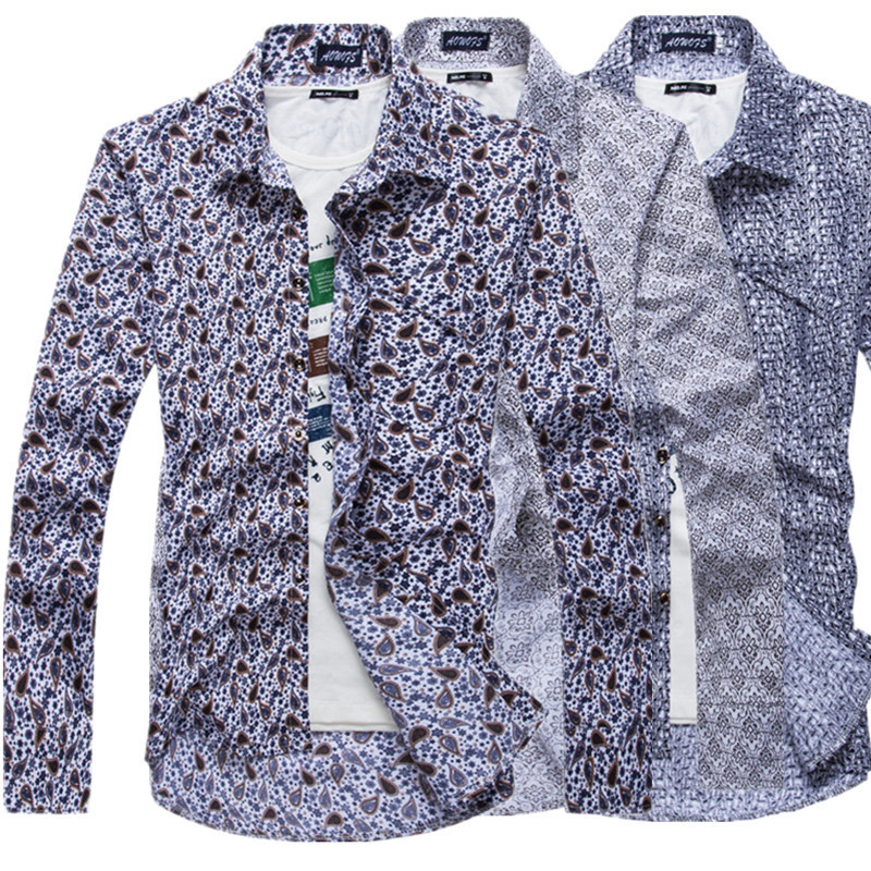 8d3fef3084bb High Quality Floral Print Mens Tuxedo Shirts Slim FIt Wedding Party Prom  Men Dress Shirt Long Sleeve Elegant Men s Cotton Shirts-in Tuxedo Shirts  from ...