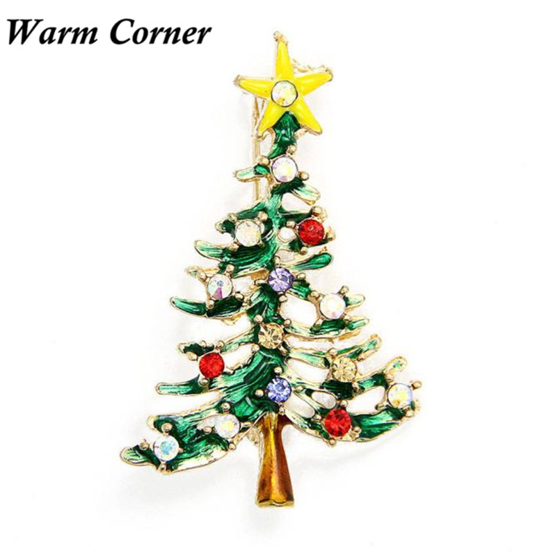 2017 Christmas Cute Tree Brooch Pins Crystal Rhinestone Christmas Gift Free Shipping Sept 18