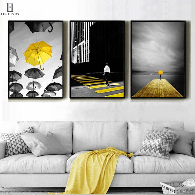 d10210545 Modern Black And Yellow Paintings Umbrellas Scatter In Sky HD Unframed  Canvas Poster Wall Art Print Picture For Room Home Decor
