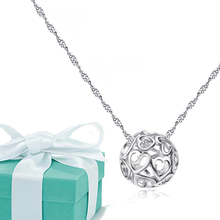 2015 New Fashion Necklace For Women Sterling Silver Chain & Pendant, High Quality Heart Necklace Christmas Gift,Collier Ethnique