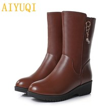 AIYUQI Womens boots winter 2019 new genuine leather women snow boots,plus size 41 42 43 Wedge martin boots women , wool boots