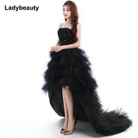 Ladybeauty 2018 red evening dress the bride royal princess Prom dress short train formal dress quality design Evening grown