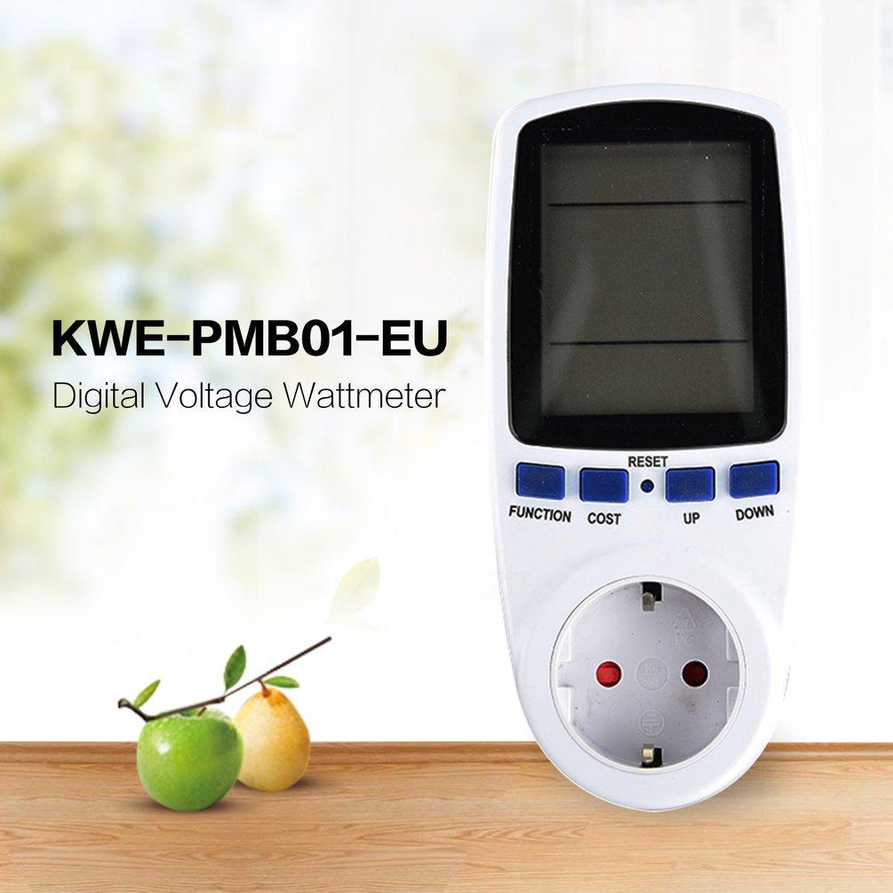 New KWE PMB01 Plug Socket Digital Voltage Wattmeter Power Consumption Watt Energy Meter AC Electricity Analyzer