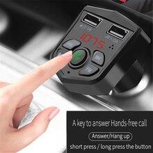 Bluetooth 5.0 samochodowy zestaw głośnomówiący nadajnik FM 3.1A szybka ładowarka z podwójnym portem USB woltomierz cyfrowy LCD TF karta U dysk AUX Player