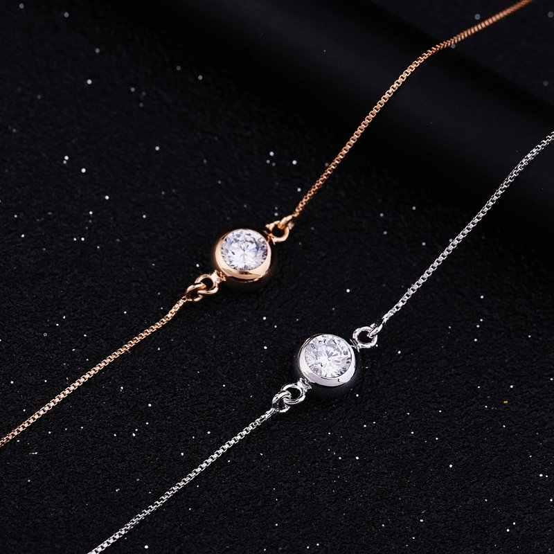 MIGGA אחת מעוקב Zirconia קריסטל צמיד שרשרת עלה לבן זהב צבע אופנה נשים גבירותיי תכשיטים