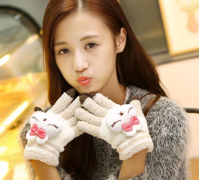 Hirigin Gloves Fashion Women Winter Gloves Touch Screen Full Fingers Winter Warm Weaved Knit Wrist-Gloves Mittens Kawaii