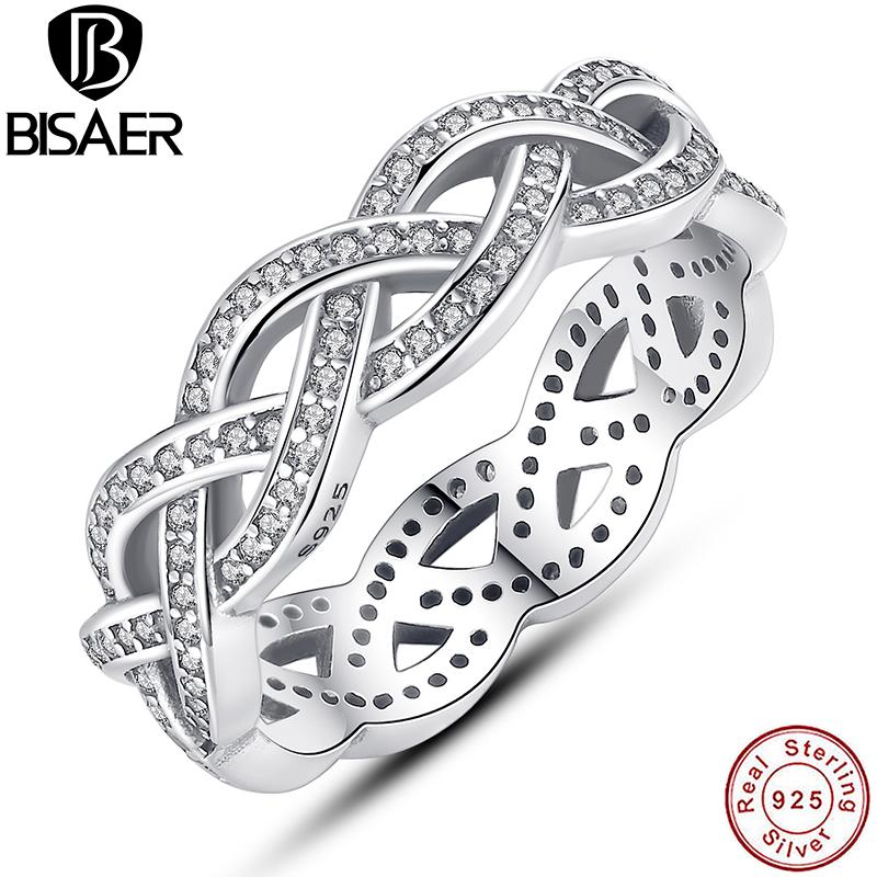 BISAER Hot Sale Silver Color BRAIDED and Small White AAA Zircon Female Finger Ring Jewelry WEU7209