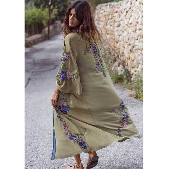 62943070a0 Boho Inspired embroidered kimono kaftan 2019 open front tie waist beach top  contrast binding summer long