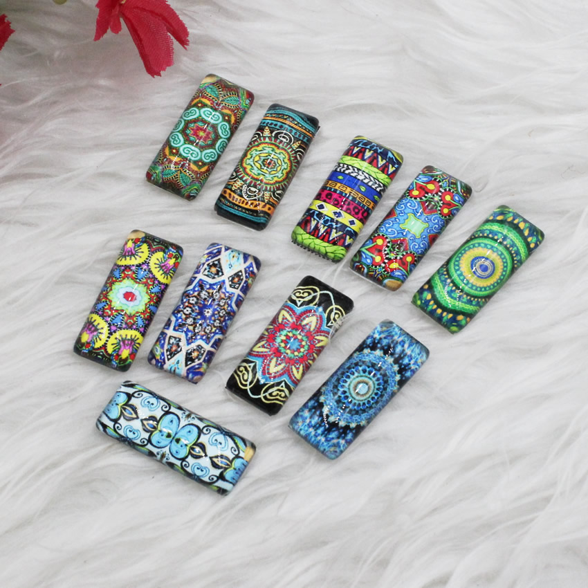 10x25mm Mixed Colorful Flower Rectangle Glass Cabochon Dome Jewelry Finding Cameo Pendant Settings 10pcs/lot (K05372)
