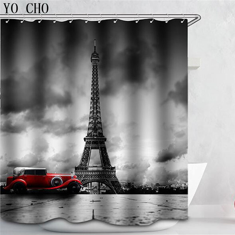 Multiple Size Eco Friendly Polyester 3D Eiffel Tower Cortina Ducha Bicycle Shower  Curtains Waterproof Home